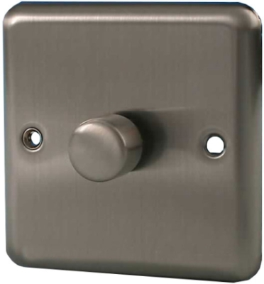 1 Gang 400W 2-Way Push-on Push-off Dimmer (Matt Chrome)