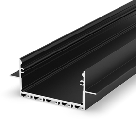 1 Metre Architectural Black LED Profile (64mm x 25mm) P23-2 for Plasterboard