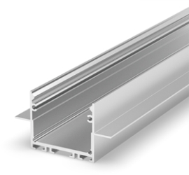 1 Metre Architectural Silver Anodized LED Profile (47.4mm x 25mm) P22-2 for Plasterboard