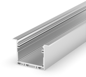 1 Metre Recessed Silver Anodized LED Profile (41.4mm x 25mm) P22-1