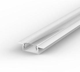 1 Metre Recessed White LED Profile P6 (15mm x 7.65mm) C/W Clear Cover