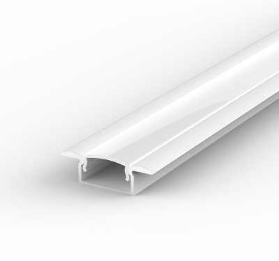 1 Metre Recessed White LED Profile P6 (15mm x 7.65mm) C/W Opal Cover