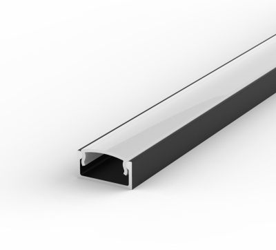 1 Metre Recessed/Surface Black LED Profile P4 (15mm x 7mm) C/W Opal Cover