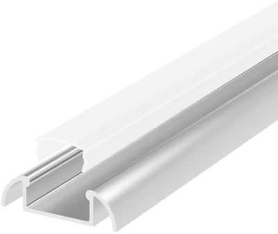1 Metre Surface Mounted Aluminium LED Profile P2 (24.6mm x 7mm) C/W Opal Cover
