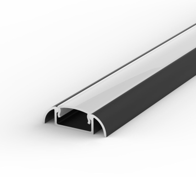 1 Metre Surface Mounted Black LED Profile P2 (24.6mm x 7mm) C/W Opal Cover