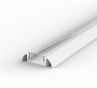1 Metre Surface Mounted White LED Profile P2 (24.6mm x 7mm) C/W Clear Cover