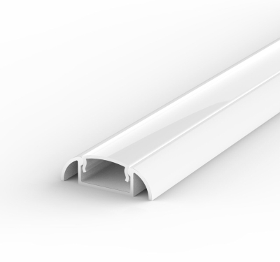 1 Metre Surface Mounted White LED Profile P2 (24.6mm x 7mm) C/W Opal Cover