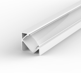 1 Metre Surface/Recessed Corner White LED Profile P3 (17mm x 17mm) C/W Clear Cover