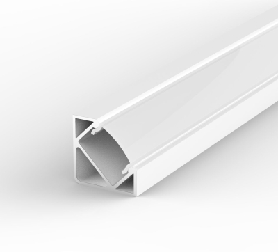 1 Metre Surface/Recessed Corner White LED Profile P3 (17mm x 17mm) C/W Opal Cover