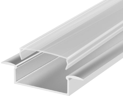 1 Metre Wide Recessed Aluminium LED Profile P14 (10.65mm x 30.8mm) C/W Clear Cover