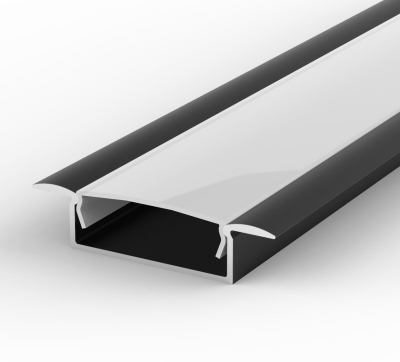 1 Metre Wide Recessed Black LED Profile P14 (10.65mm x 30.8mm) C/W Opal Cover