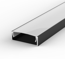 1 Metre Wide Surface Mounted Black LED Profile P13 (30.8mm x 10mm) C/W Opal Cover