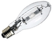 This is a 150 W 26-27mm ES/E27 Eliptical bulb that produces a Blue light which can be used in domestic and commercial applications
