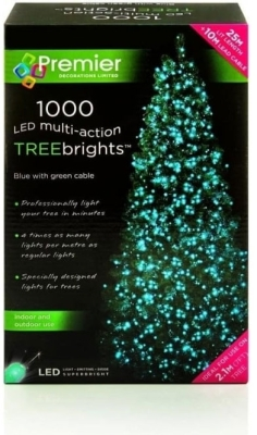 1000 Led Blue Multi Action Treebrights Christmas Lights 7ft