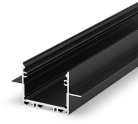 2 Metre Architectural Black LED Profile (47.4mm x 25mm) P22-2 for Plasterboard