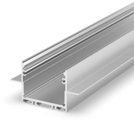2 Metre Architectural Silver Anodized LED Profile (47.4mm x 25mm) P22-2 for Plasterboard