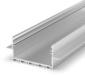 2 Metre Architectural Silver Anodized LED Profile (64mm x 25mm) P23-2 for Plasterboard