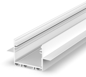 2 Metre Architectural White LED Profile (47.4mm x 25mm) P22-2 for Plasterboard