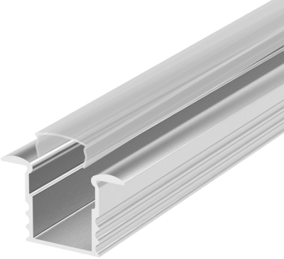 2 Metre Deep Recessed Aluminium LED Profile P18 (15.85mm x 15.4mm) C/W Clear Cover