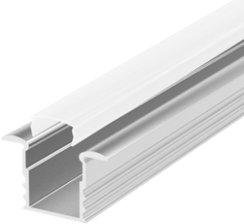 2 Metre Deep Recessed Aluminium LED Profile P18 (15.85mm x 15.4mm) C/W Opal Cover