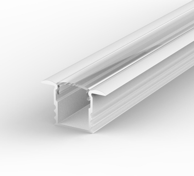 2 Metre Deep Recessed White LED Profile P18 (15.85mm x 15.4mm) C/W Clear Cover