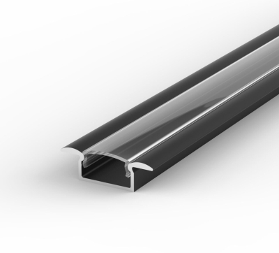 2 Metre Recessed Black LED Profile P6 (15mm x 7.65mm) C/W Clear Cover