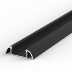 2 Metre Surface Mounted Black LED Profile P2 (24.6mm x 7mm)