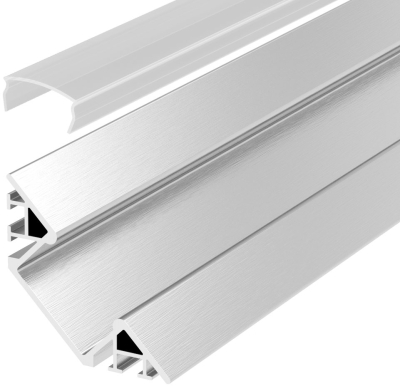 2 Metre Surface Mounted Corner LED Profile P7 (4mm x 17.1mm) C/W Clear Cover