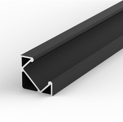 2 Metre Surface/Recessed Corner Black LED Profile P3 (17mm x 17mm)