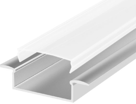 2 Metre Wide Recessed Aluminium LED Profile P14 (10.65mm x 30.8mm) C/W Opal Cover