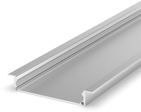 2 Metre Wide Recessed Aluminium LED Profile Silver Anodized (58.4mm x 9.2mm) P21-1