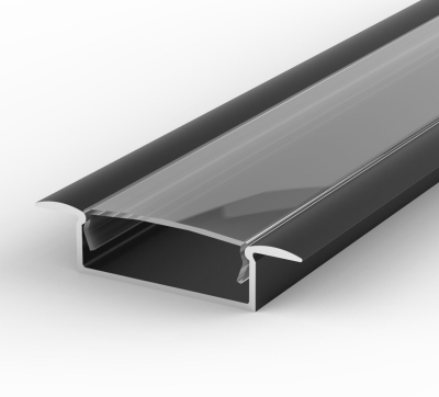 2 Metre Wide Recessed Black LED Profile P14 (10.65mm x 30.8mm) C/W Clear Cover