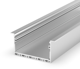 2 Metre Wide Recessed Silver LED Profile (58mm x 25mm) P23-1
