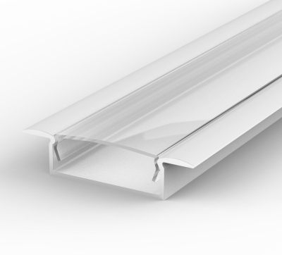 2 Metre Wide Recessed White LED Profile P14 (10.65mm x 30.8mm) C/W Clear Cover