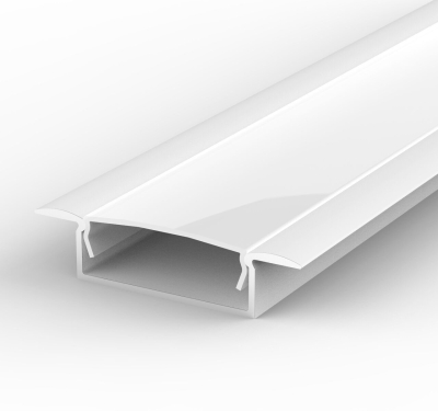 2 Metre Wide Recessed White LED Profile P14 (10.65mm x 30.8mm) C/W Opal Cover