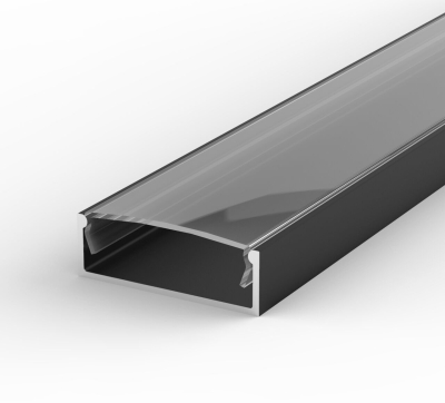 2 Metre Wide Surface Mounted Black LED Profile P13 (30.8mm x 10mm) C/W Clear Cover
