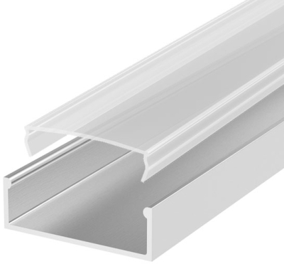 2 Metre Wide Surface Mounted LED Profile P13 (58mm x 10mm) C/W Clear Cover