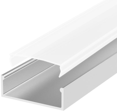 2 Metre Wide Surface Mounted LED Profile P13 (58mm x 10mm) C/W Opal Cover