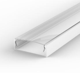 2 Metre Wide Surface Mounted White LED Profile P13 (30.8mm x 10mm) C/W Clear Cover