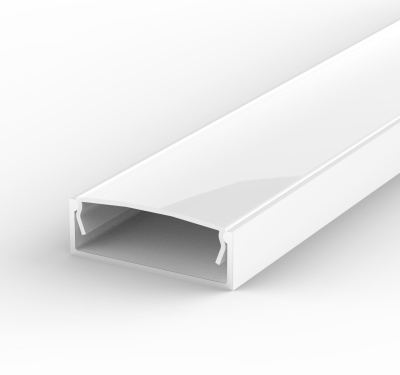 2 Metre Wide Surface Mounted White LED Profile P13 (30.8mm x 10mm) C/W Opal Cover
