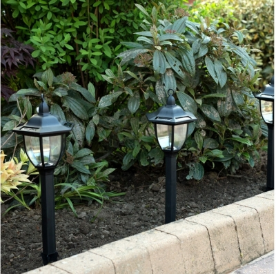Ultra Bright Black Solar LED Lights 6 Sided Lantern Head Set Of 4