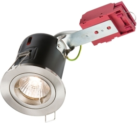 230 Volt 50 Watt Fixed Fire-Rated IC GU10 Downlight in Brushed Chrome
