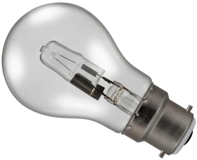 42W (60W Alternative) Energy Saving Halogen Standard Shape (GLS) BC