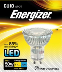 5 Watt Energizer LED Cool White Full Glass 370lm 36° GU10