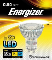 5 Watt Energizer LED Warm White Full Glass 350lm 36° GU10