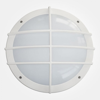 Eterna IP65 365mm Cool White 18W White Aluminium Emergency LED Wall Light with Grill Diffuser + Mult