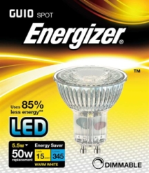 5.5 Watt Dimmable Energizer LED Warm White Full Glass 350lm 36° GU10