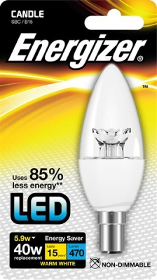 5.9 Watt Energizer LED Warm White 470lm Clear B15 Candle