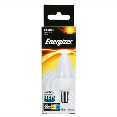 5.9 Watt Energizer LED Warm White 470lm Opal B15 Candle