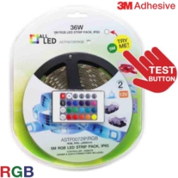 5m ALL LED 12V LED Strip Pack RGB IP65 with IR Controller, Driver, Connectors, Driver